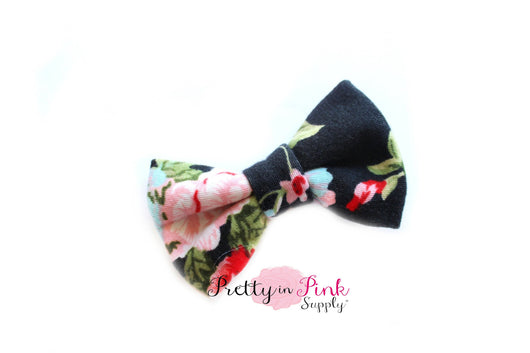 Black Floral Soft Stretch Bows - Pretty in Pink Supply