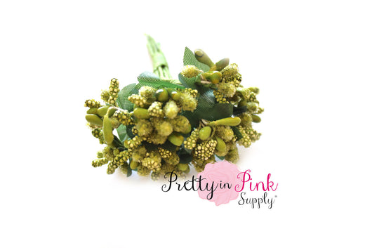 Avacado Green Frosted Berry Bead Stems - Pretty in Pink Supply