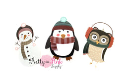 Winter Friends Iron On - Pretty in Pink Supply