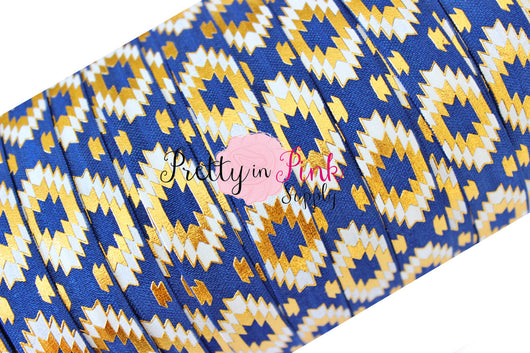 Southwest Aztec Navy, White, and Gold Elastic - Pretty in Pink Supply