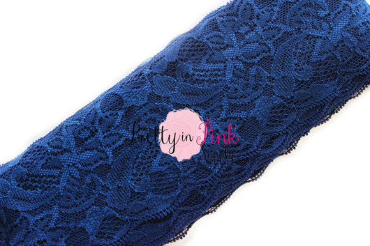 Navy Lace Elastic 3.25