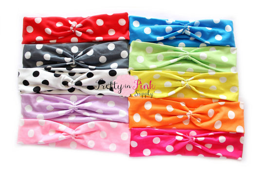 Polka Dot Soft Stretch Headwraps - Pretty in Pink Supply