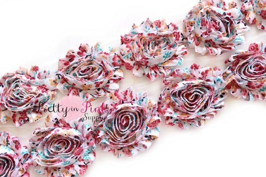 Vintage Floral Shabby Rose Trim - Pretty in Pink Supply