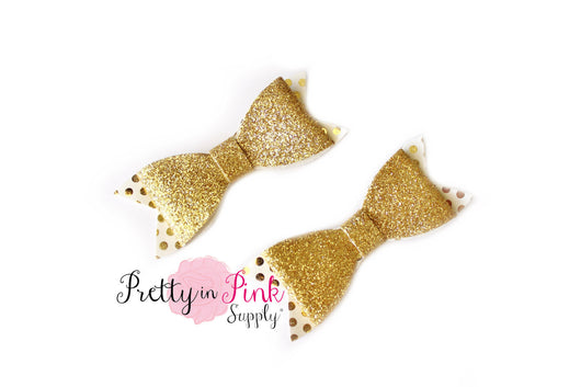 White/Gold Polka Dot Glitter Bow - Pretty in Pink Supply