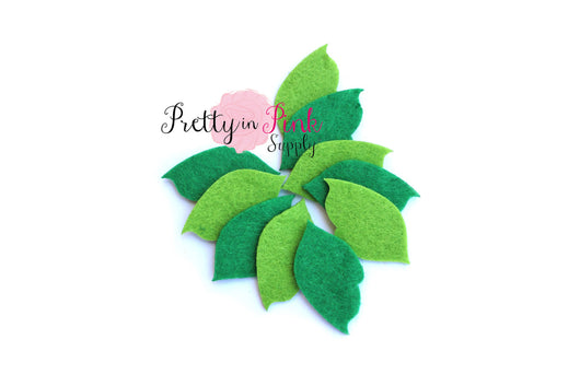 Green Felt Leaf - Pretty in Pink Supply