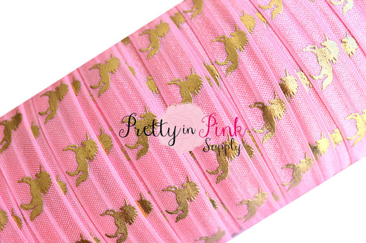 Pink Salmon with Gold Metallic Unicorn Print Elastic - Pretty in Pink Supply