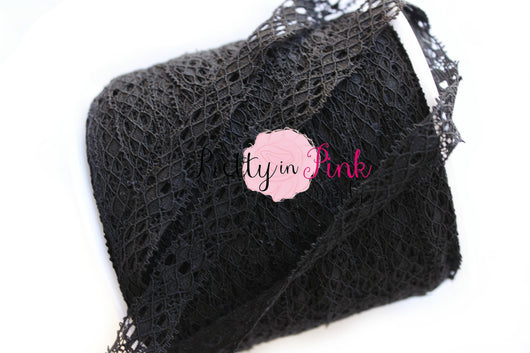 New Black Lace Elastic .25 - Pretty in Pink Supply