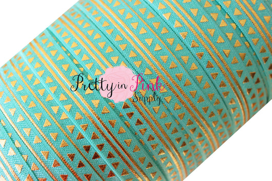 Aqua/Gold Metallic Arrow and Stripe Print - Pretty in Pink Supply