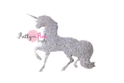 Silver Glitter Unicorn  Iron On - Pretty in Pink Supply