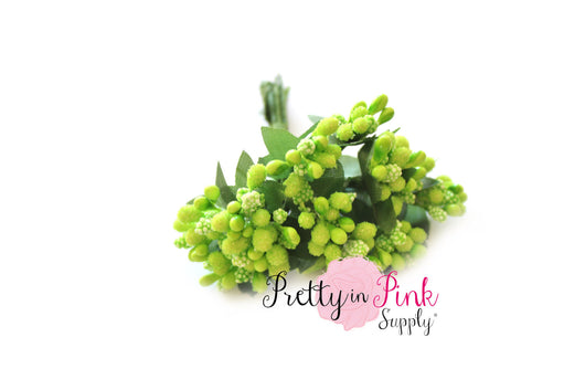 Lime Green Frosted Berry Bead Stems - Pretty in Pink Supply