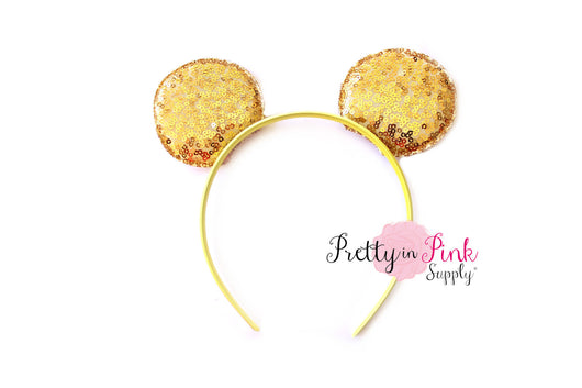 SEQUIN Gold Minnie Mouse Ears Yellow Headband - Pretty in Pink Supply