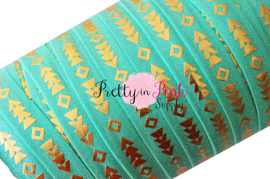 Aqua Tribal Gold Arrow Metallic Print Elastic - Pretty in Pink Supply