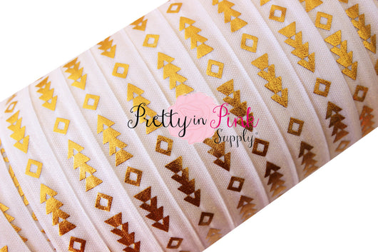 White Tribal Arrow Gold Metallic Print Elastic - Pretty in Pink Supply