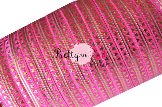 Hot Pink Gold Metallic Triangle and Stripe Print Elastic - Pretty in Pink Supply