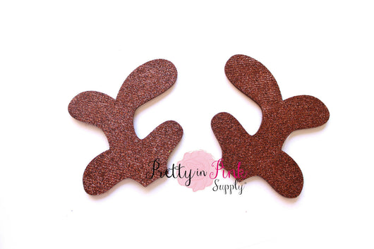 Glitter Felt Brown Reindeer Antlers - Pretty in Pink Supply
