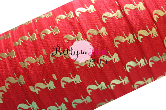 Red and Gold Metallic Mermaid Print Elastic - Pretty in Pink Supply