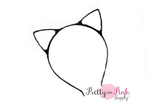 Black Hollow CAT Ears Metal Headband - Pretty in Pink Supply