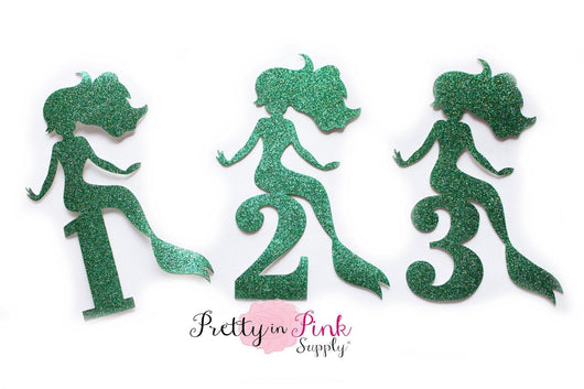 Emerald GLITTER Mermaid and Numbers Iron On