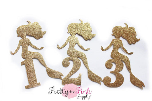 Gold GLITTER Mermaid and Numbers Iron On