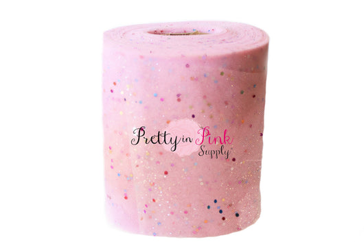 Pink Confetti Glitter Tulle - Pretty in Pink Supply