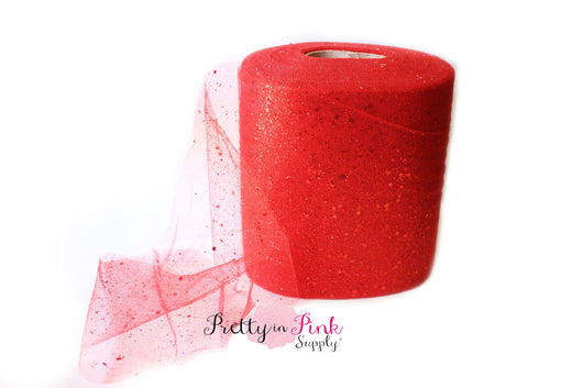 Red Glitter Tulle - Pretty in Pink Supply
