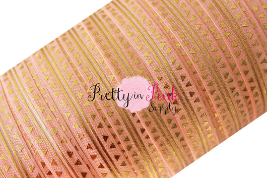 Peach/Gold Metallic Arrow and Stripe Print Elastic - Pretty in Pink Supply