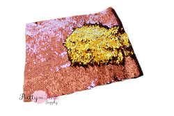 Pink Rose/Gold Changeable Sequin Fabric Sheet - Pretty in Pink Supply