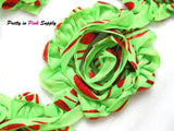 Shiny Red and Green Shabby Rose Trim - Pretty in Pink Supply