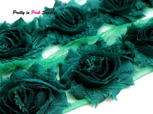 Forest Green Shabby Rose Trim - Pretty in Pink Supply