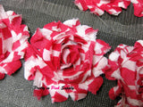 Hot Pink White Stripe Shabby Rose Trim - Pretty in Pink Supply