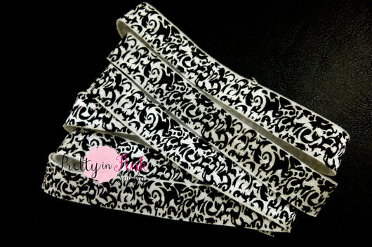 Black White Damask Print Elastic - Pretty in Pink Supply