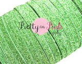 "3/8"" Apple Green Glitter Elastic - Pretty in Pink Supply"