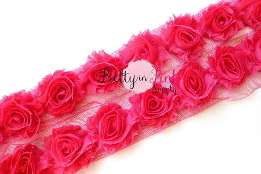 Petite Hot Pink Shabby Rose Trim - Pretty in Pink Supply