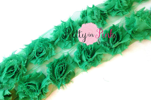 Petite Emerald Green Shabby Rose Trim - Pretty in Pink Supply
