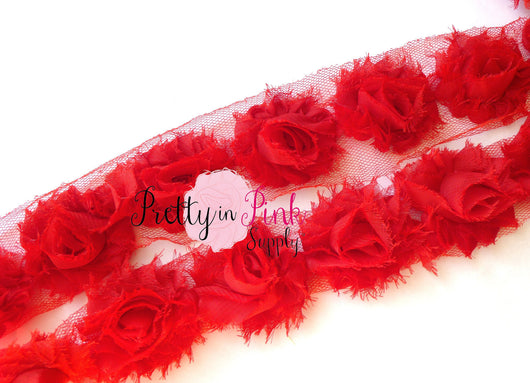 Petite Red Shabby Rose Trim - Pretty in Pink Supply