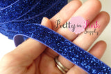 "5/8"" Royal Blue Glitter Elastic - Pretty in Pink Supply"