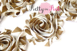 Light Brown White Stripe Shabby Rose Trim - Pretty in Pink Supply
