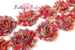 Red Paisley Shabby Rose Trim - Pretty in Pink Supply