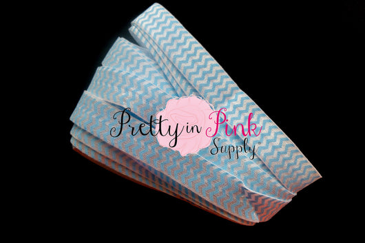 Blue White Chevron Elastic - Pretty in Pink Supply