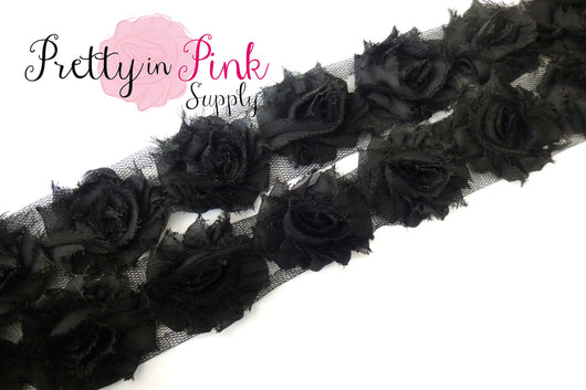 Petite Black Shabby Rose Trim - Pretty in Pink Supply