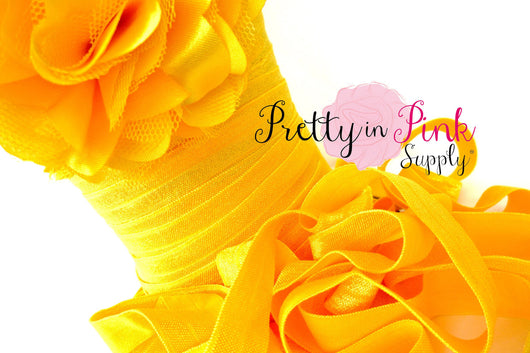 5/8 Yellow Fold Over Elastic - Pretty in Pink Supply