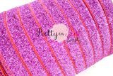 "5/8"" Raspberry Glitter Elastic - Pretty in Pink Supply"