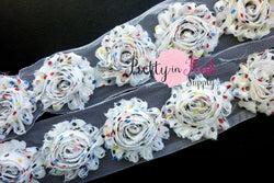 White Crayon Dot Shabby Rose Trim - Pretty in Pink Supply