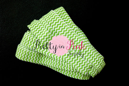 Green White Chevron Print Elastic - Pretty in Pink Supply