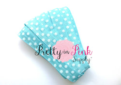 Light Blue White Dot Print Elastic - Pretty in Pink Supply