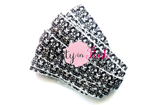 Black and White Floral Print Elastic - Pretty in Pink Supply