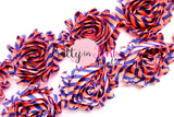 Bright Coral Blue Stripe Shabby Rose Trim - Pretty in Pink Supply