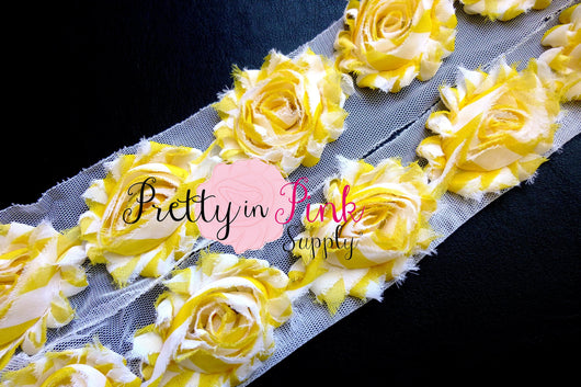 Sunny Yellow White Stripe Shabby Rose Trim - Pretty in Pink Supply