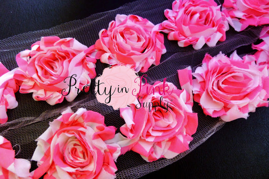 Neon Pink White Stripe Shabby Rose Trim - Pretty in Pink Supply