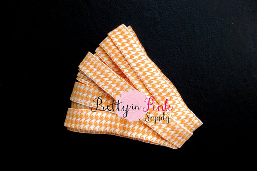 Orange Hounds Tooth Print Elastic - Pretty in Pink Supply